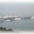 霞む大桟橋
